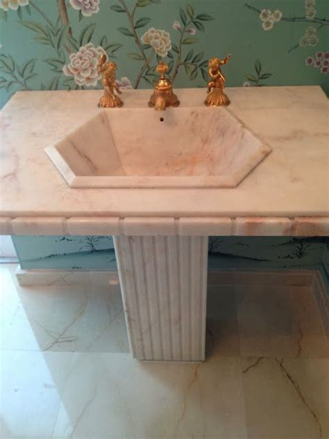 sherle wagner marble pedestal sink powder room