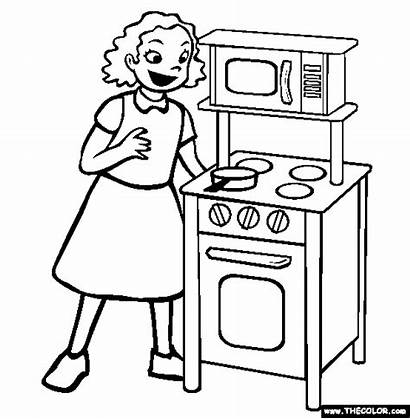Kitchen Play Coloring Clipart Pages Toys Clip