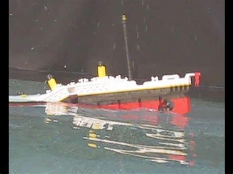 lego ship sinking in pool lego titanic 3 4 photo shoot