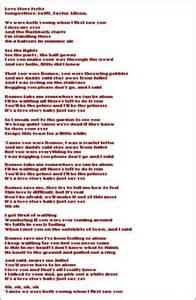Taylor Swift Song Lyrics to Love Story Taylor Swift Love Story Lyrics
