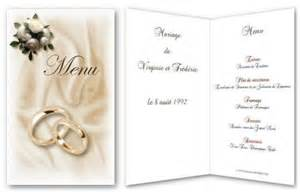exemple menu mariage trouver modele menu pour mariage