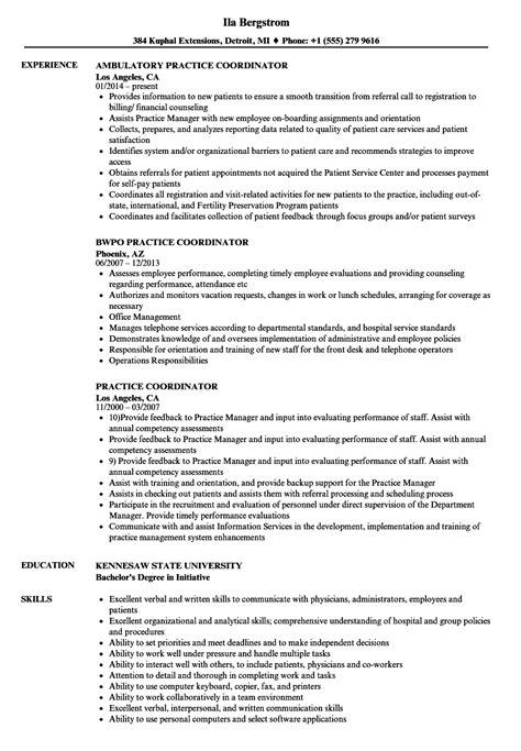 Practice Resume practice coordinator resume sles velvet