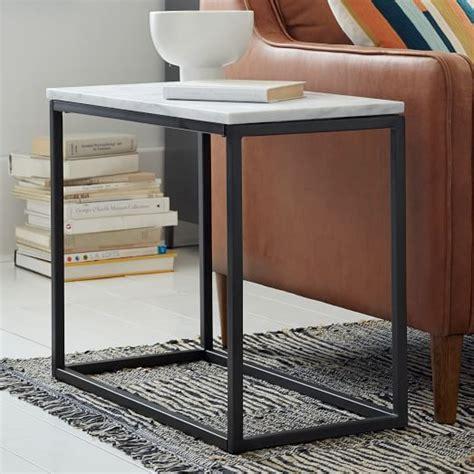 west elm end table box frame narrow side table marble antique bronze west elm