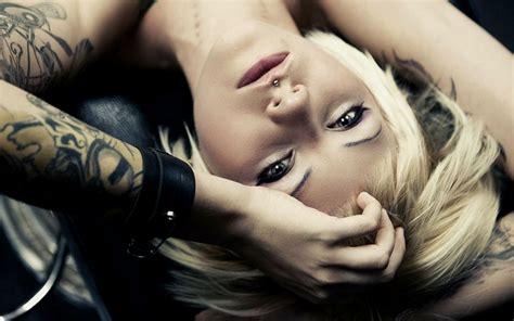 Blonde Girl Piercing Tattoos Women Face Pov Babes
