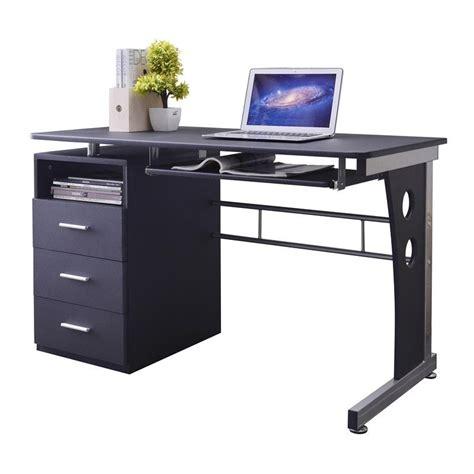tablette de bureau bureau informatique noir avec tiroirs de rangement et tablette