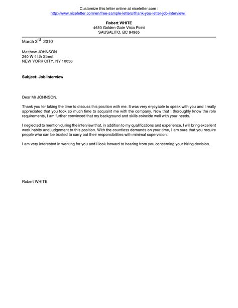 Sample Thank You Letter After Job Interview  Crna Cover Letter