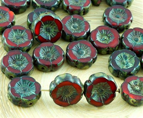 red coral table l 10pcs rustic red coral table cut window czech glass flat