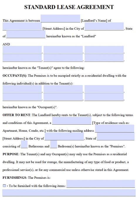 residential lease agreements   word templates