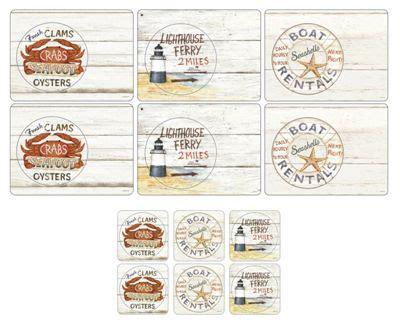 buy pimpernel coastal signs placemats coasters set