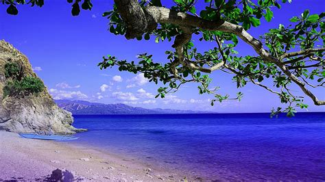 Beautiful Blue Ocean And Landscape Of Mountain HD Nature ...