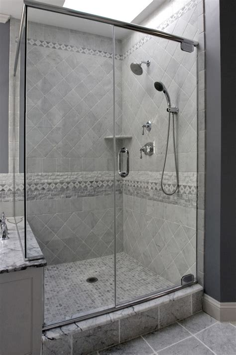 shower tile patterns bathroom traditional with accent