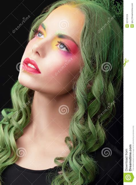 Imagination Woman With Dyed Hair And Fancy Creative