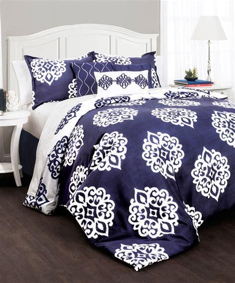 navy white medallion comforter set modern comforters