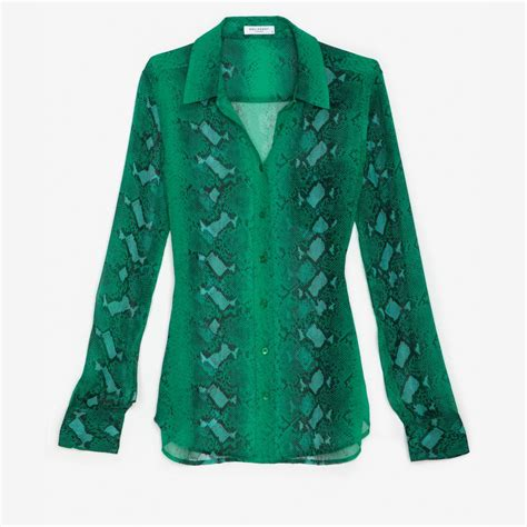 emerald green blouse equipment exclusive signature python print chiffon blouse
