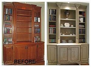 Before and after painted entertainment center- upstairs