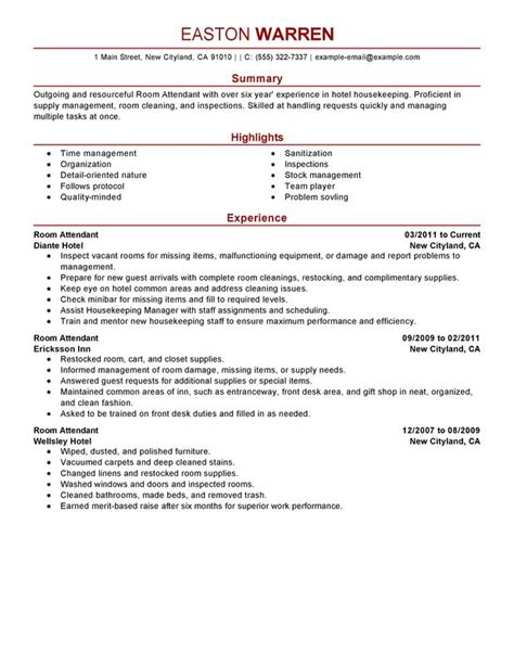 sle resume cleaner hotel