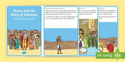 moses and the story of passover sequencing cards judaism 775 | t t 10000221 moses and the story of passover sequencing cards ver 3
