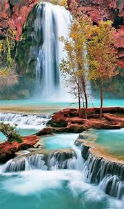 Nature Autumn Waterfall Landscape iPhone 8 Wallpapers Free ...