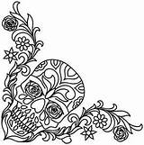 Skull Embroidery Corner Patterns Leather Paper Designs Coloring Sugar Tooling Skulls Printable Hand Urbanthreads Pages Flower Flowered Pattern Cross Mandala sketch template