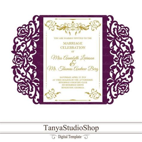 Gate fold invitation template SVG DXF ai CRD eps Laser