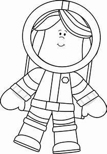 Black and White Little Girl Astronaut Clip Art - Black and ...