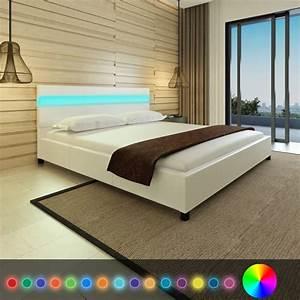Lit En 180 : acheter lit en cuir artificiel blanc avec t te de lit led 200 x 180 cm pas cher ~ Teatrodelosmanantiales.com Idées de Décoration