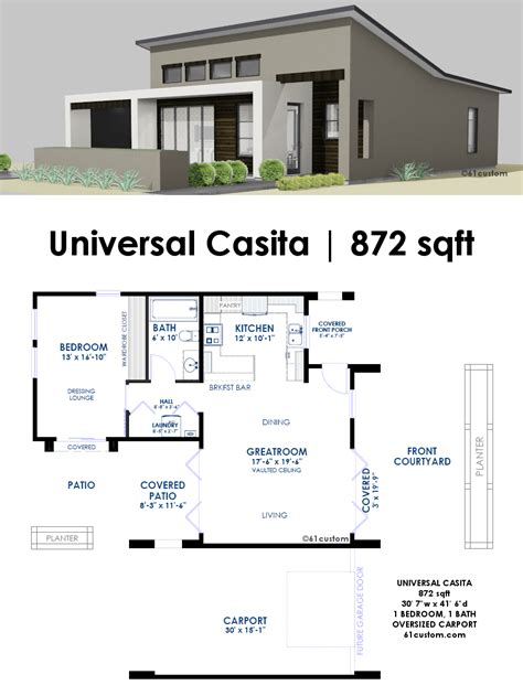 www houseplans universal casita house plan 61custom contemporary