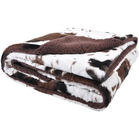 Cowhide Blanket - cowhide print and sherpa plush throw blanket brown