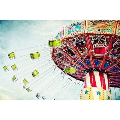 Amusement Park Swings Carnival Ride Colorful Large 16x24