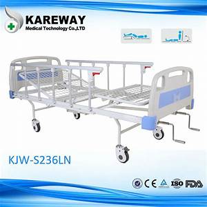 Luxury Manual Two Crank Hospital Bed With Aluminum Side