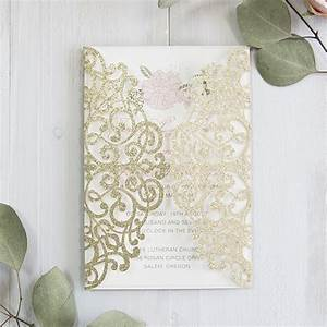 luxury pale gold and blush pink floral laser cut wedding With blush gold and white wedding invitations