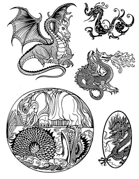 scrimshaw designs dragon pattern page