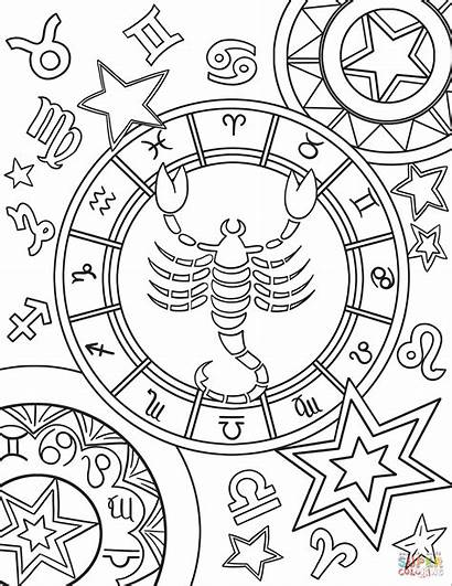 Zodiac Coloring Signs Pages Sign Printable Scorpius