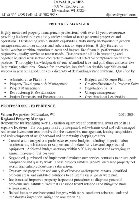 How To Write A Property Management Resume by 10 Property Manager Resume Sle Exle Writing Resume Sle Writing Resume Sle