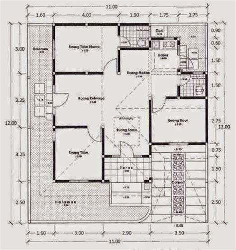gambar denah rumah sederhana  lantai  kamar tidur