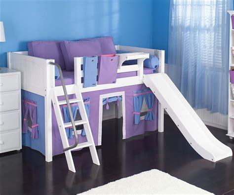 maxtrix loft bed maxtrix low loft bed white with slide and curtains bed