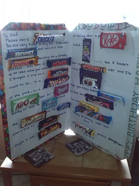 Candy bar birthday poster, source. Chocolate birthday card with UK sweets   Birthday card ...