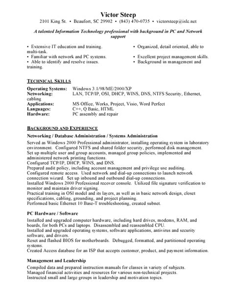 resume for network administrator entry level entry level network administrator resume exles