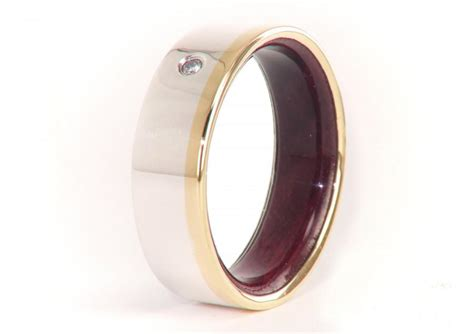 olive wood ring  gold  silver diamond mens