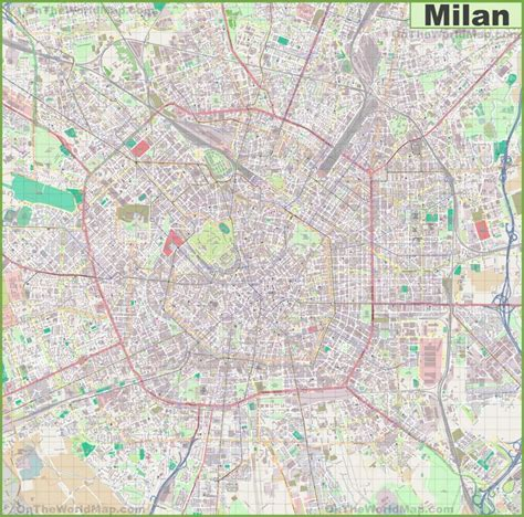 large detailed map  milan