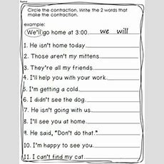 Contractions Worksheet 2 Worksheets  Education Ideas  2nd Grade Worksheets, Contraction