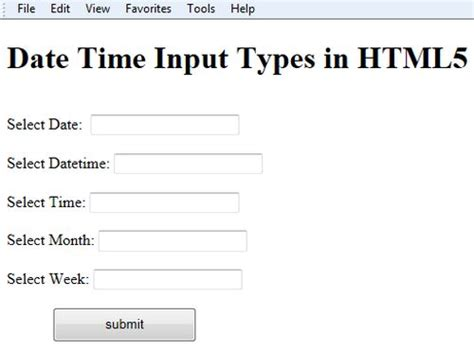 input type range in html5 date time form input type in html5