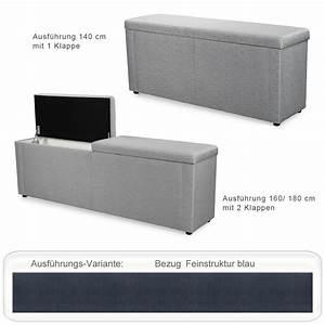 Wäschetruhe Sitzbank Bad : truhenbank ruth blau 140cm 160cm 180cm polsterbank ~ Michelbontemps.com Haus und Dekorationen