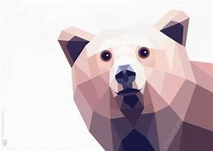 Bear, Grizzly bear 2, Geometric print, Original ...