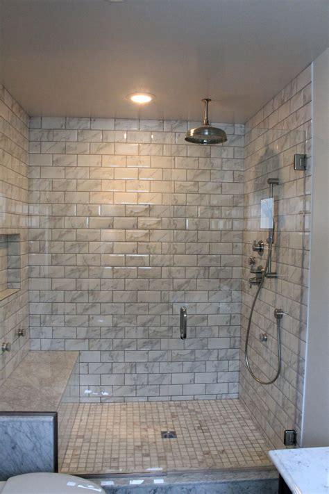 wood bath vanity bathroom shower subway tiles amazing tile
