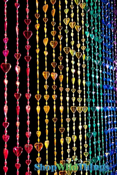 hearts beaded curtain rainbow iridescent 3 ft x 6 ft