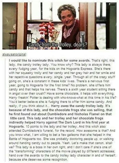 Harry Potter Trolley Meme - my wizarding hat is off to the candy trolley lady books pinterest candy lady and to the