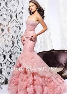 2014 Latest Designs Luxury Pink Mermaid Strapless Crystals ...