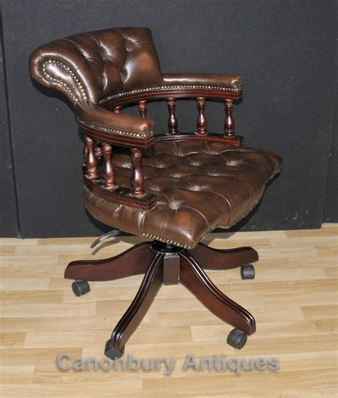 leather swivel desk chair victorian captains chair office swivel desk chairs with