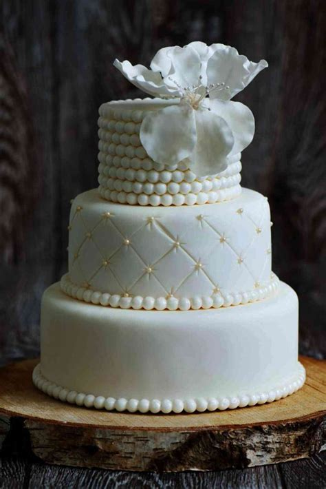 quilted gold pearls elegant wedding cake  french